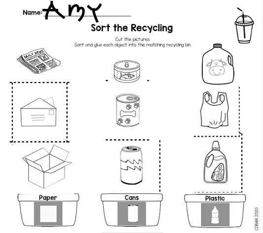 Paper cut and paste Screenshot of Sort the Recycling