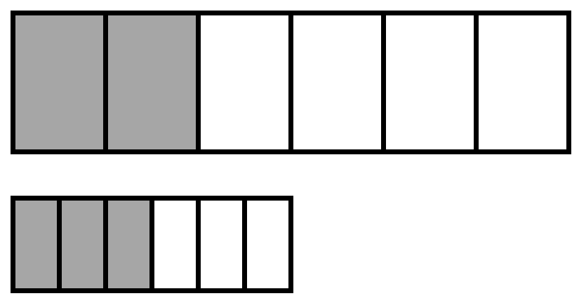 This image shows a large rectangle partitioned into 6 equal parts with 2 parts shaded and a small rectangle partitioned into 6 parts with 3 parts shaded.
