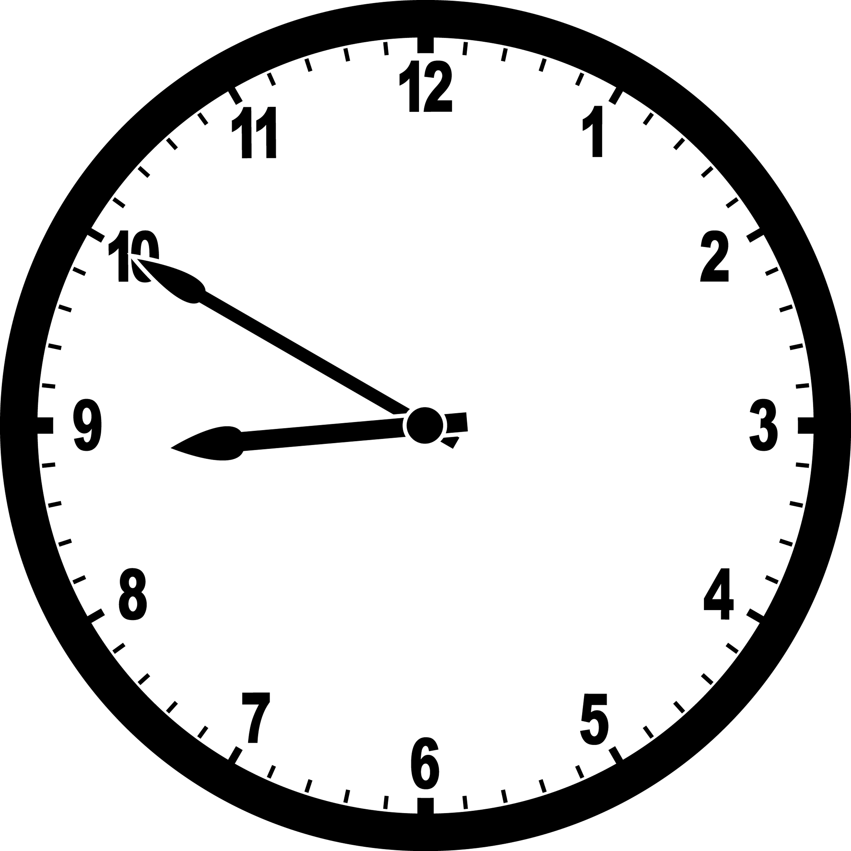 An analog clock showing 8:50.