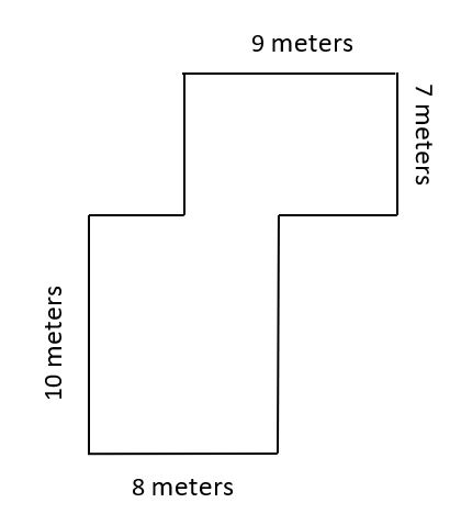 The rectilinear figure represents a model of a dog park. One area of the figure is 9 meters long and 7 meters wide. The other area of the figure is 10 meters long and 8 meters wide.