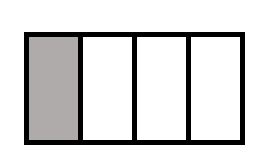 The image shows a rectangle divided into four equal pieces. 1 of the pieces is shaded in.