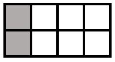 The image shows a rectangle divided into 8 equal pieces. 2 of the pieces are shaded in.