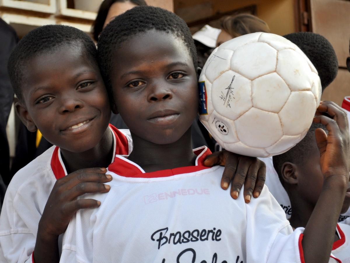 Togo children playing soccer