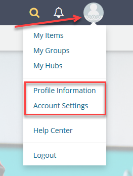 profile drop down image
