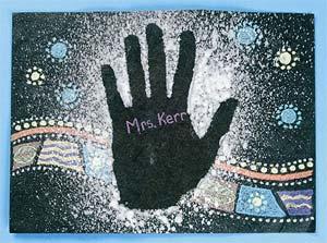 The stenciled hand print and