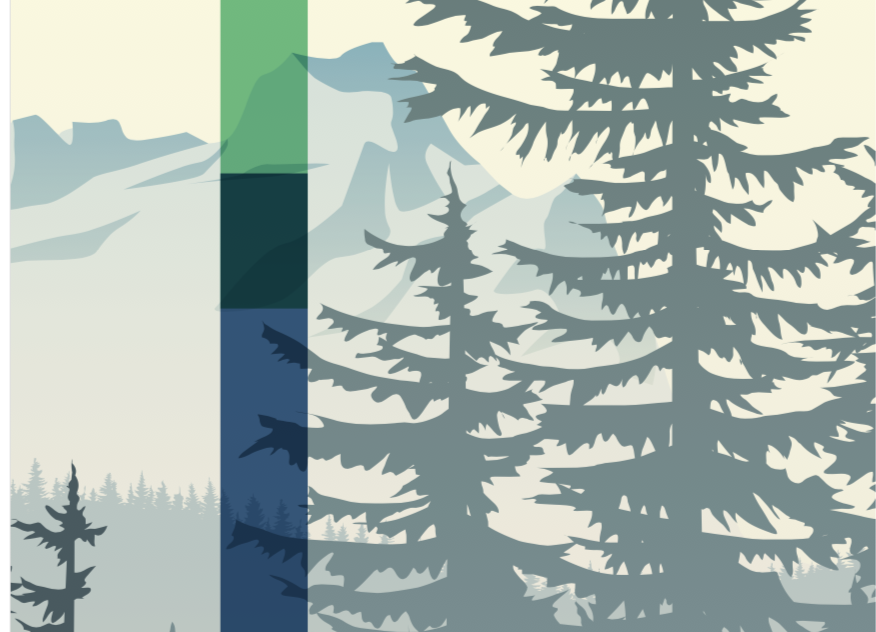 Icon image of evergreen trees with a mountain background.