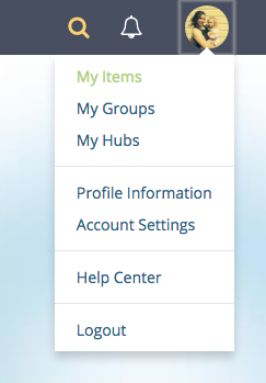 OER Commons drowdown menu. User items, my items.