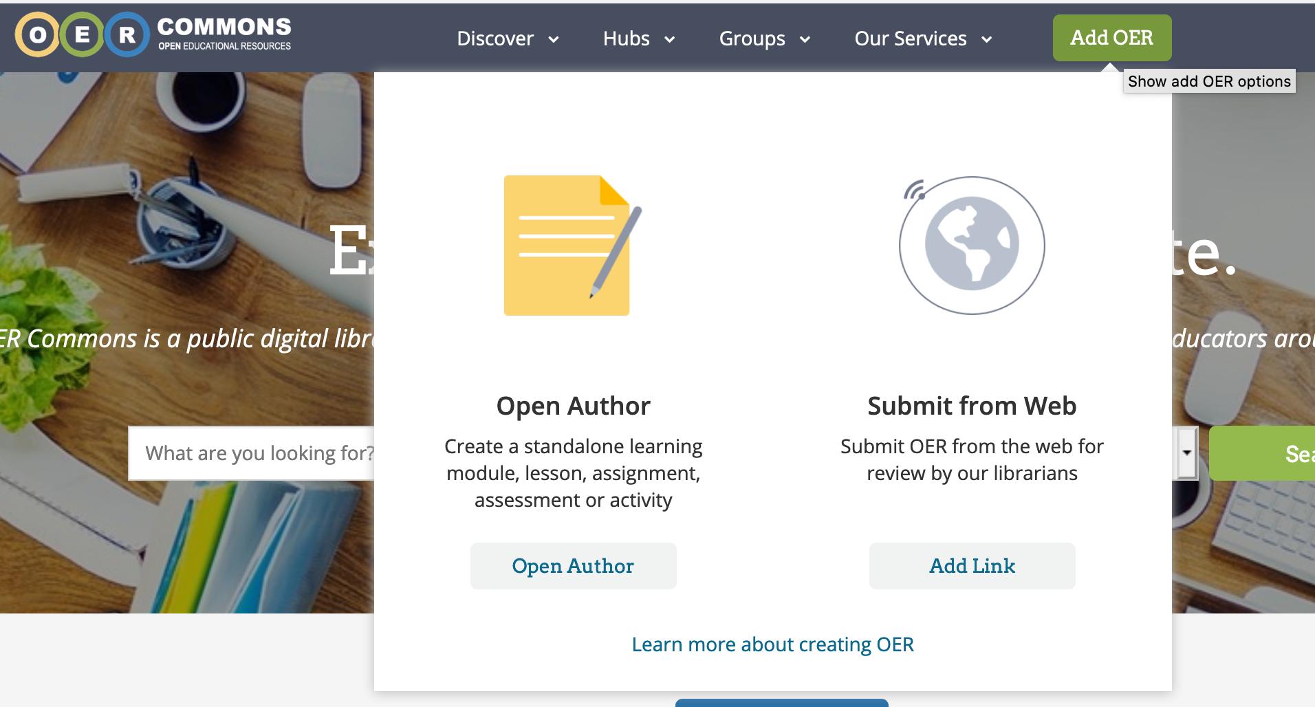 Screenshot of Add OER menu on OER Commons