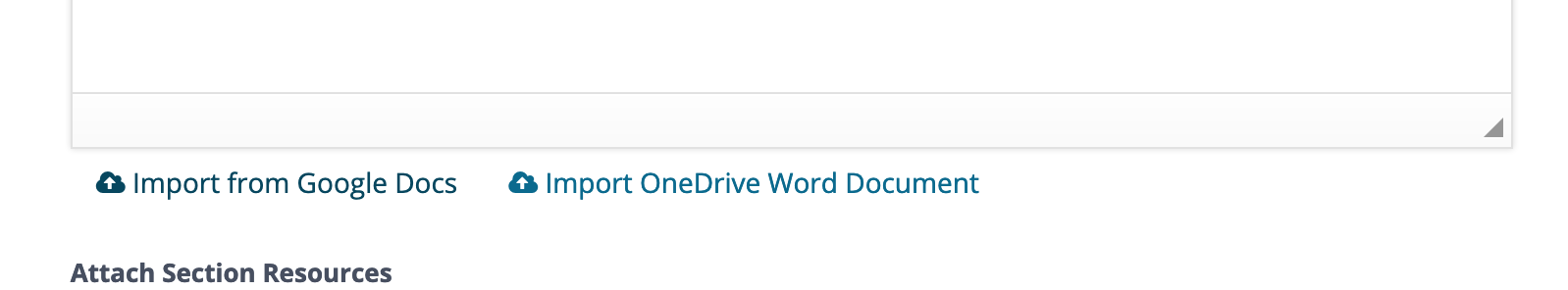 Import from Google Docs link at the bottom of the Section