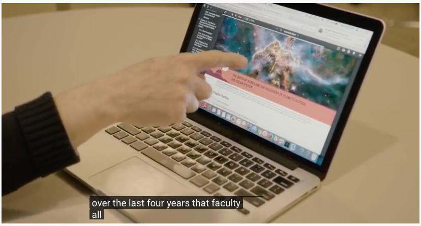 Screen shot of video with a caption.