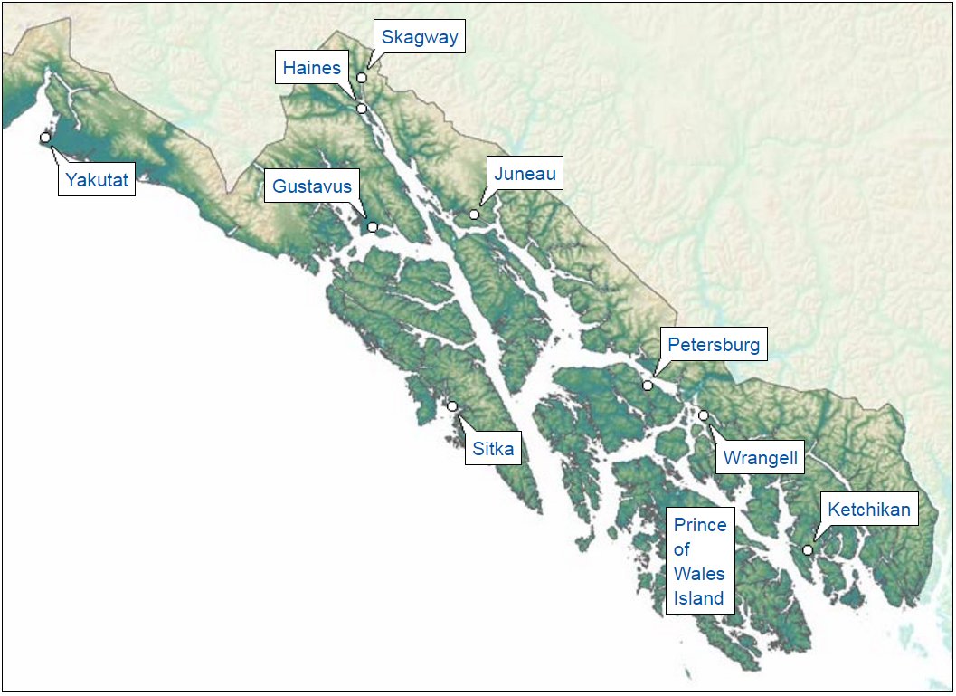 Southeast Alaska is a southern archipelago of islands and mainland with many small communities.