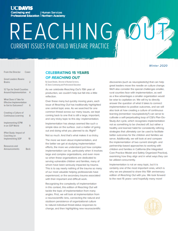 Reaching Out Newsletter Front Cover