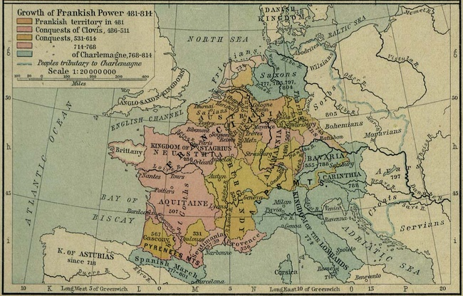 """""""Growth of Frankish Power, 481-814."""" [Public domain], from The Historical Atlas by William R. Shepherd, 1923."""