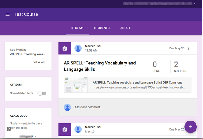 This is how an OER Commons resources appears as an assignment in Google Classroom™