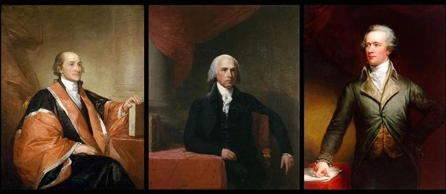 Portraits of John Jay, James Madison, and Alexander Hamilton. Public Domain, via Wikimedia Commons