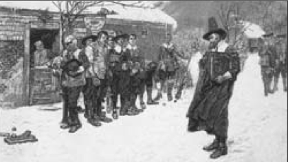 A devout Puritan elder (right) confronts patrons drinking ale outside a tavern. Tensions between the strictly religious Puritans, who first settled the region, and the more secular population were characteristic of the colonial era in New England. By Howard Pyle, Public Domain, via Wikimedia Commons