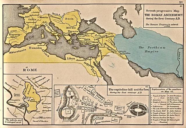 Roman Empire 1st Century A.D. [Public Domain], from Historical Atlas, by Robert H. Labberton, 1884.