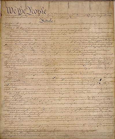 First page of the United States Constitution. Public Domain, from the National Archives.