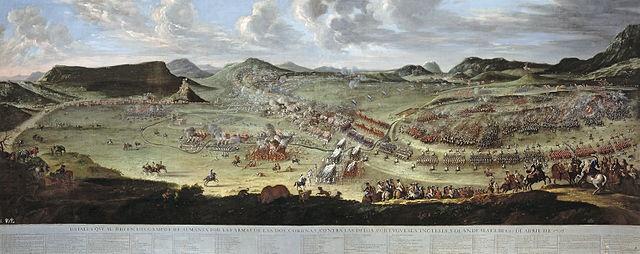 Battle of Almansa during the War of Spanish Succession by Buonaventura Ligli and Filippo Pallotta, Public Domain, via Wikimedia Commons