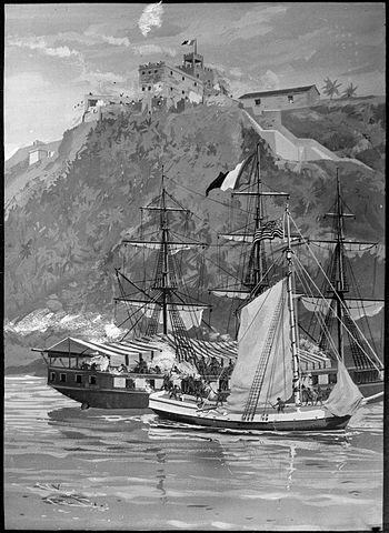 Capture of the French Privateer Sandwich by armed Marines on the Sloop Sally, from the U.S. Frigate Constitution, By Philip Colprit [Public domain or FAL], via Wikimedia Commons