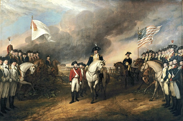 Surrender of Lord Cornwallis and the British army to American and French forces commanded by George Washington at Yorktown, Virginia, on October 19, 1781. The battle of Yorktown led to the end of the war and American independence, secured in the 1783 Treaty of Paris.  Painting by John Trumbull, Public domain, via Wikimedia Commons