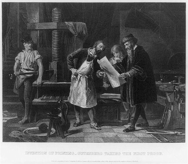 """""""Invention of printing - Gutenberg taking the first proof,"""" [Public domain], via Library of Congress."""