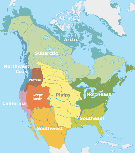 Cultural areas of North American Indigenous peoples at the time of European contact. By User:Nikater [Public domain], via Wikimedia Commons