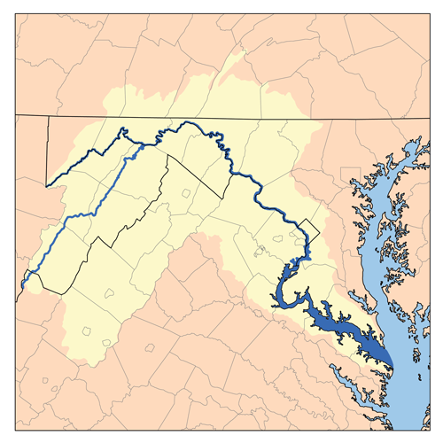 Map of the Potomac drainage basin by Kmusser - Own work, based on USGS data., CC BY-SA 3.0, via Wikimedia Commons