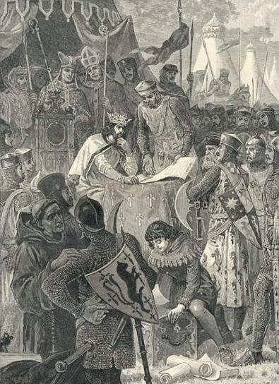 """""""John of England signs Magna Carta."""" [Public domain], from Cassell's History of England, ca. 1902, scan by Tagishsimon [Public domain], from Wikimedia Commons"""
