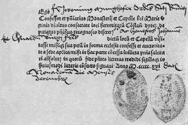 A Roman Catholic certificate of having gone to confession from the year 1521. By Fr. Jeronimus Munghofer, OB [Public domain], via Wikimedia Commons