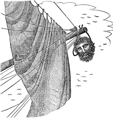 Edward Teach's severed head hangs from Maynard's bowsprit, as pictured in Charles Elles's The Pirates Own Book. Public Domain, via Wikimedia Commons