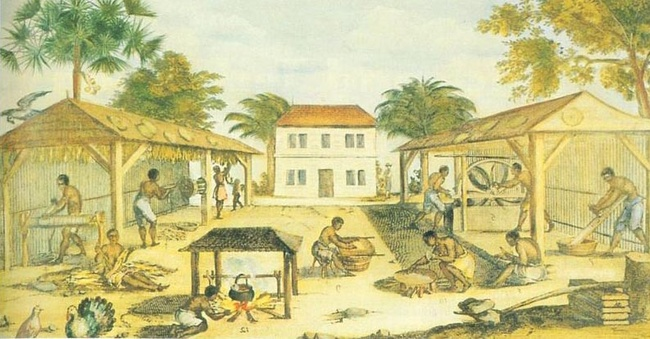 """Slaves working in 17th-century Virginia,"" by an unknown artist, 1670. [Public domain], via Wikimedia Commons"