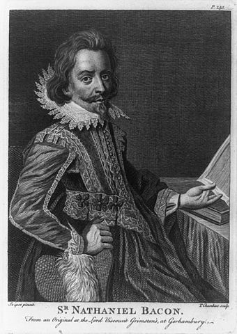 Portrait of Nathaniel Bacon. Engraving by T. Chambars after a self portrait, Public Domain, via Wikimedia Commons
