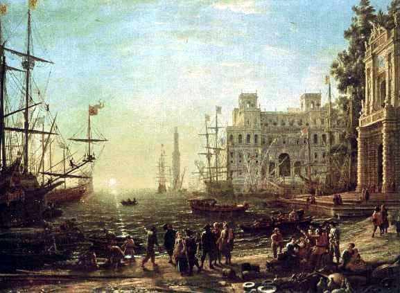 Seaport, a 17th century depiction, by Claude Lorrain, Public Domain, via Wikimedia Commons