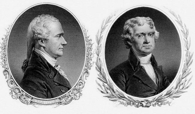 Alexander Hamilton and Thomas Jefferson by The Bureau of Engraving and Printing (Restoration by Godot13) [Public domain or CC BY-SA 3.0], via Wikimedia Commons