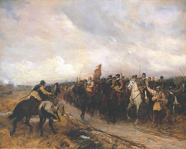 """Cromwell at Dunbar,"" a scene from the English Civil War, by Andrew Carrick Gow, Public Domain, via Wikimedia Commons"