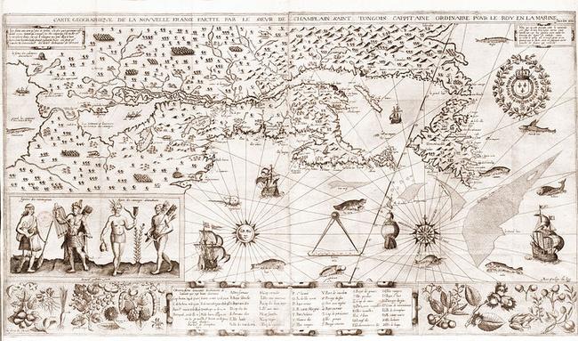 Map of New France, by Samuel de Champlain, 1612, [Public domain], via Wikimedia Commons.