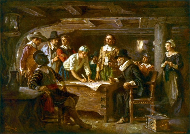 Signing the Mayflower Compact 1620, a painting by Jean Leon Gerome Ferris 1899. Public Domain, via Wikimedia Commons.