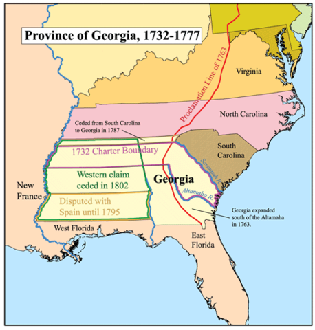 Map of the Province of Georgia by Kmusser, CC BY-SA 2.5, via Wikimedia Commons