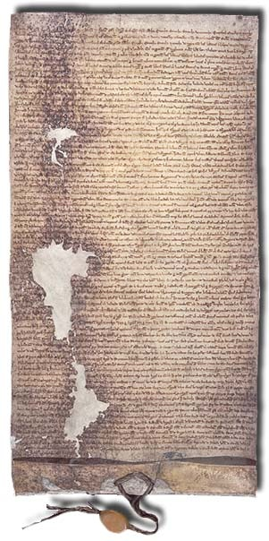 The 1225 version of Magna Carta issued by Henry III of England. This copy is in the National Archives (London), DL 10/71. [Public domain], via Wikimedia Commons