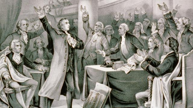 "Drawing of revolutionary firebrand Patrick Henry (standing to the left) uttering perhaps the most famous words of the American Revolution — ""Give me liberty or give me death!"" — in a debate before the Virginia Assembly in 1775. By Currier & Ives, Public Domain, via Wikimedia Commons"