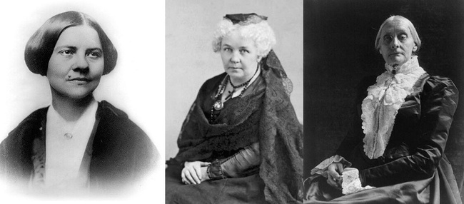 Lucy Stone, Elizabeth Cady Stanton, and Susan B. Anthony. Public Domain, via Wikimedia Commons.