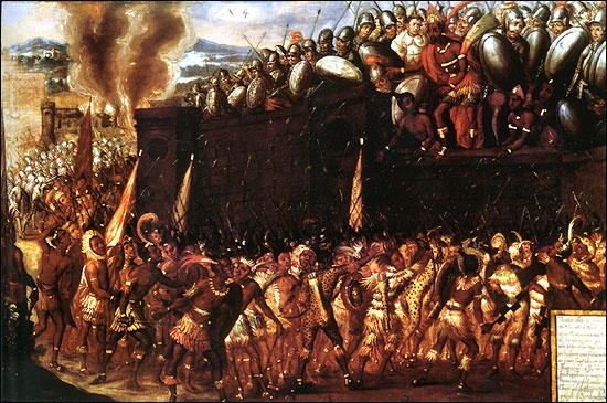 """""""The death of Moctezuma at the hands of his own people"""" [Public domain], via Wikimedia Commons"""