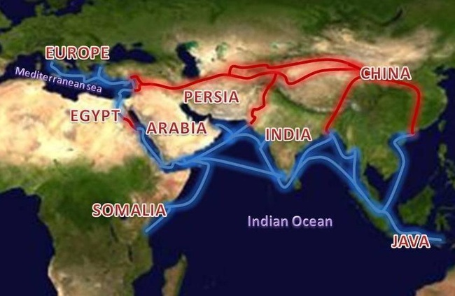 Extent of Silk Route/Silk Road. By en:User:Wikiality123 , CC BY-SA 3.0, via Wikimedia Commons