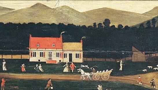 A Dutch colonial farm near Albany, NY, 1733. By John Heaten, Public Domain, via Wikimedia Commons