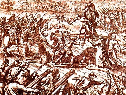 """Inca-Spanish confrontation in Cajamarca"" by Lupo [Public domain], via Wikimedia Commons"