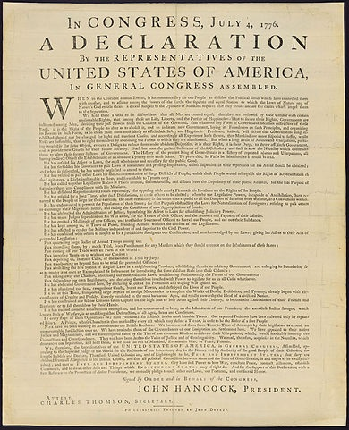 The United States Declaration of Independence. By John Dunlap, Public Domain, via Wikimedia Commons