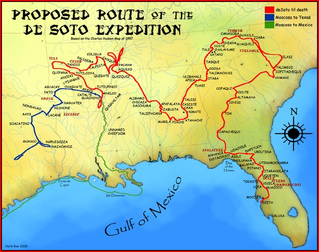 A map showing the proposed route of the de Soto Expedition, based on the 1997 Charles Hudson map. Herb Roe [CC BY-SA 3.0], via Wikimedia Commons