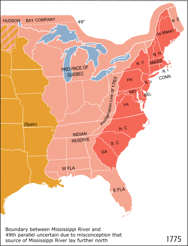 """A portion of eastern North America; the 1763 """"proclamation line"""" is the border between the red and the pink areas. By Cg-realms; adapted from National Atlas of the United States scan uploaded by Kooma, Public Domain, via Wikimedia Commons"""