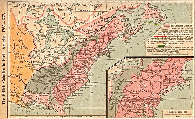 The British Colonies in North America, 1763–1775 by William Robert Shepherd.Original image at the Perry-Castañeda Library Map Collection at the University of Texas at Austin, Public Domain, via Wikimedia Commons.